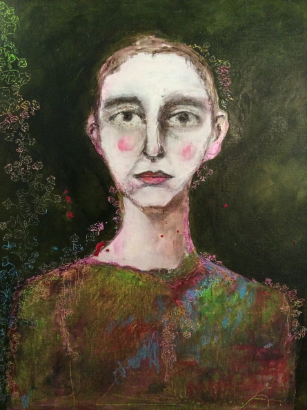 Self-portrait | Mixed media on panel