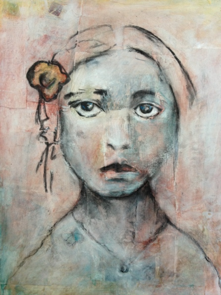 The girl with the flower on her hair - 2013 - Mixed media on paper - Commissioned