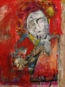 The flower man - 2012 - Mixed media on paper 14 x 11 inches - Sold