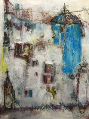 The blue tower - 2014 - Mixed Media on wood panel - 20 x 16 inches - Sold