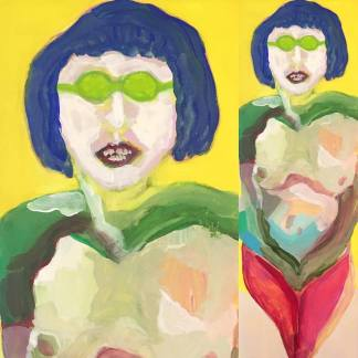 "Better age | 2016 | Gouache on 3 x 9"" (7.6 x 22.8 cm) panel"